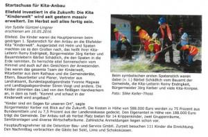 Zeitungsartikel zum Startschuss für den Kita-Anbau in Ellefeld vom 10.05.2016