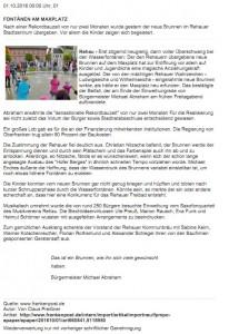 Zeitungsartikel zur Eröffnung des Rehauer Brunnens auf dem Maxplatz