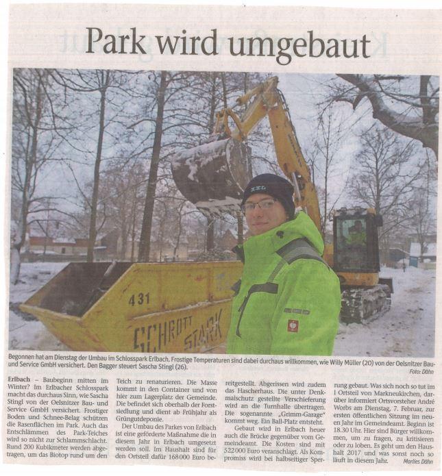 Willy Müller und Sascha Stingl bei Arbeiten im Erlbacher Park