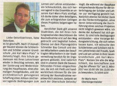 OB der Stadt Oelsnitz/Vogtl., Mario Horn, mit seinen Glückwünschen zur Eröffnung
