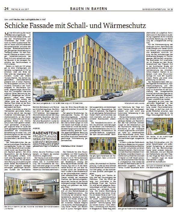 Bericht in der Bayerischen Staatszeitung zum Um- und Neubau